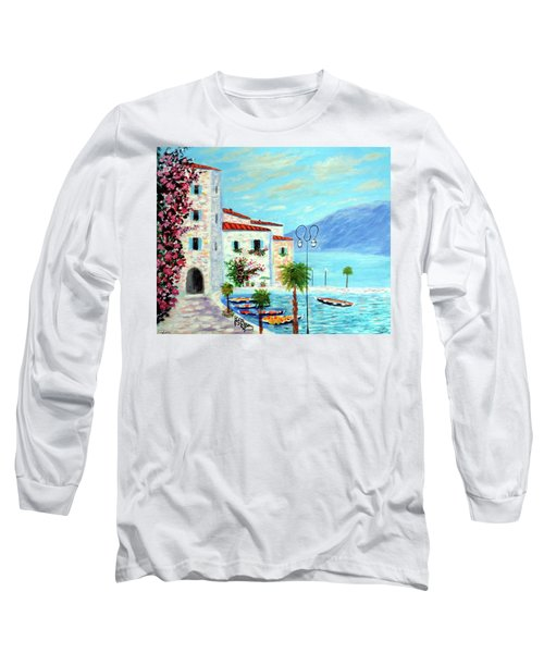 Long Sleeve T-Shirt featuring the painting Lake Garda Bliss by Larry Cirigliano