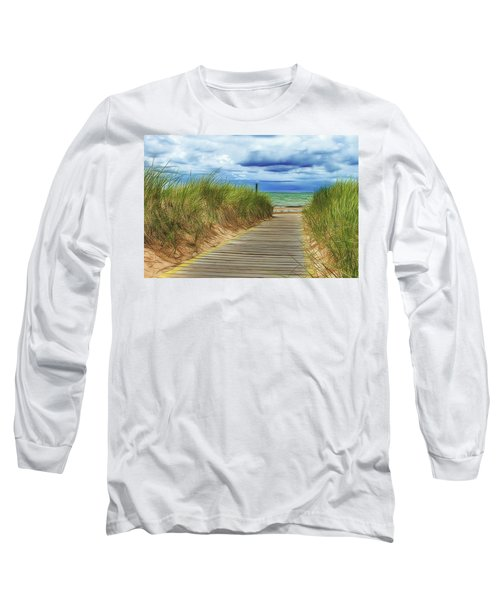 Long Sleeve T-Shirt featuring the photograph Lake Huron Boardwalk by Bill Gallagher