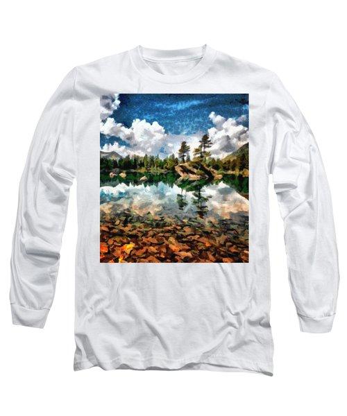 Lake Island View Long Sleeve T-Shirt by Mario Carini
