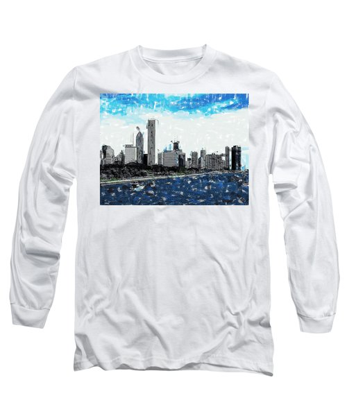 Lake Michigan And The Chicago Skyline Long Sleeve T-Shirt