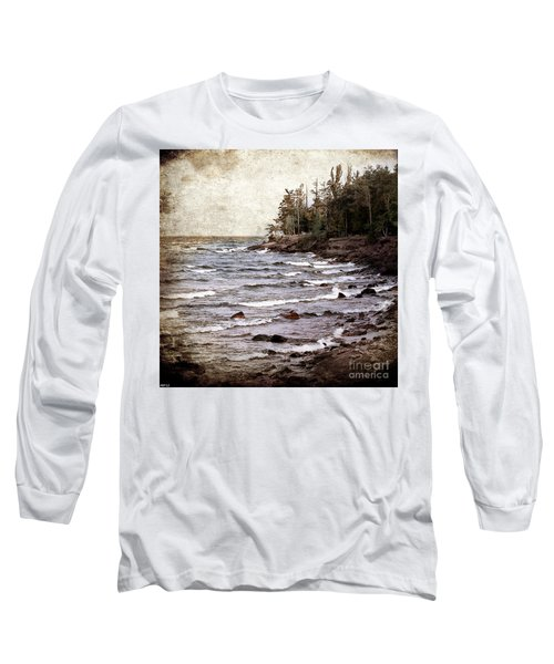 Long Sleeve T-Shirt featuring the photograph Lake Superior Waves by Phil Perkins