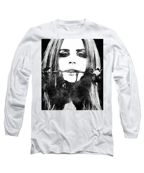 Lana Del Rey Bw Portrait Long Sleeve T-Shirt by Mihaela Pater