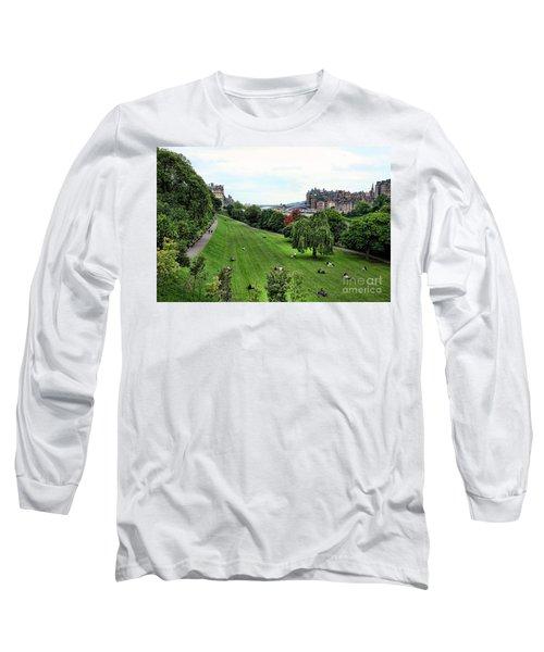 Landscape Edinburgh  Long Sleeve T-Shirt by Chuck Kuhn