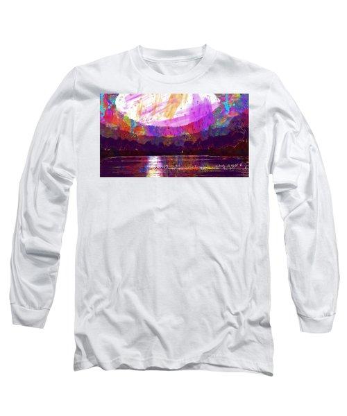 Long Sleeve T-Shirt featuring the digital art Landscape Winter Fog Sunrise Birds  by PixBreak Art