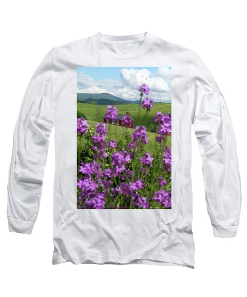 Long Sleeve T-Shirt featuring the photograph Landscape With Purple Flowers In Virginia by Emanuel Tanjala