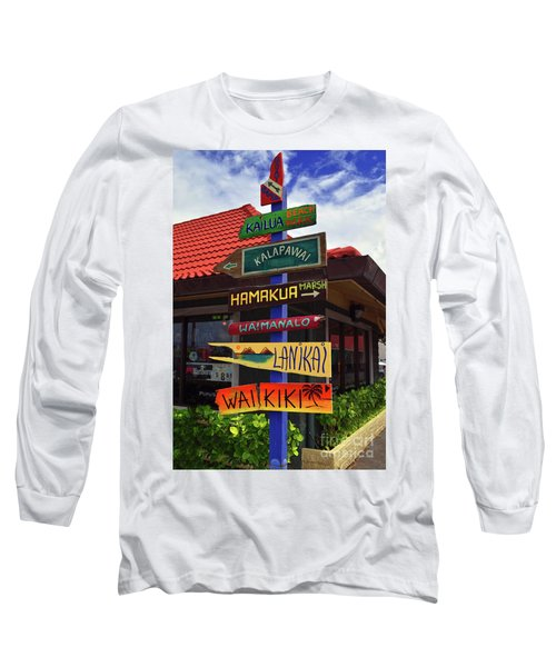 Lanikai Kailua Waikiki Beach Signs Long Sleeve T-Shirt