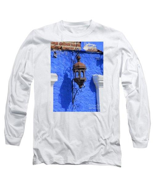 Lantern On Blue Wall Long Sleeve T-Shirt by Randall Weidner