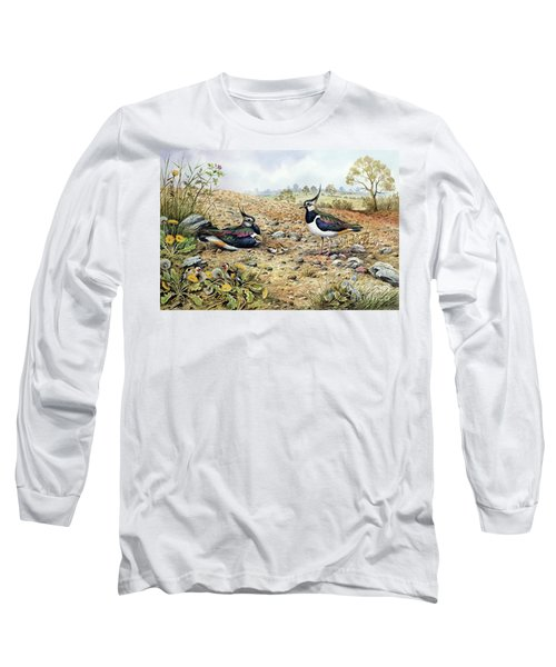 Lapwing Family With Goldfinches Long Sleeve T-Shirt by Carl Donner