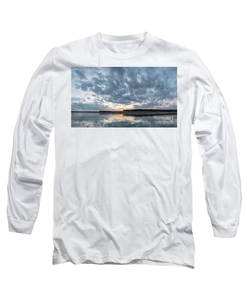 Large Panorama Of Storm Clouds Reflecting On Large Lake At Sunse Long Sleeve T-Shirt