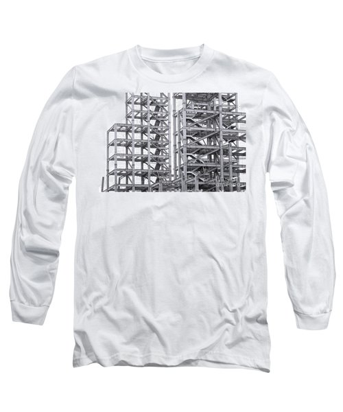 Long Sleeve T-Shirt featuring the photograph Large Scale Construction Project With Steel Girders by Yali Shi