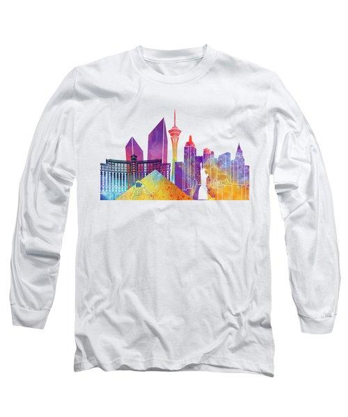 Las Vegas Landmarks Watercolor Poster Long Sleeve T-Shirt