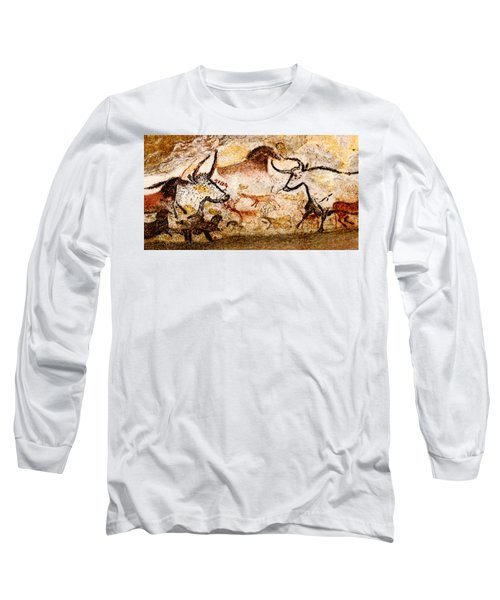 Lascaux Hall Of The Bulls - Deer And Aurochs Long Sleeve T-Shirt