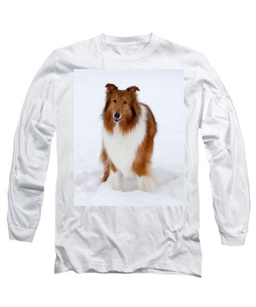 Lassie Enjoying The Snow Long Sleeve T-Shirt by Shane Holsclaw
