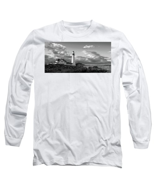 Late Afternoon Clouds, Portland Head Light  -98461 Long Sleeve T-Shirt by John Bald