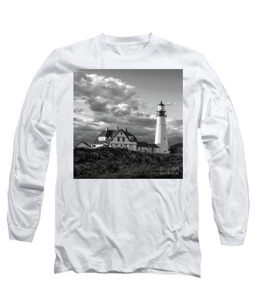 Late Afternoon Clouds, Portland Head Light  -98461-sq Long Sleeve T-Shirt by John Bald