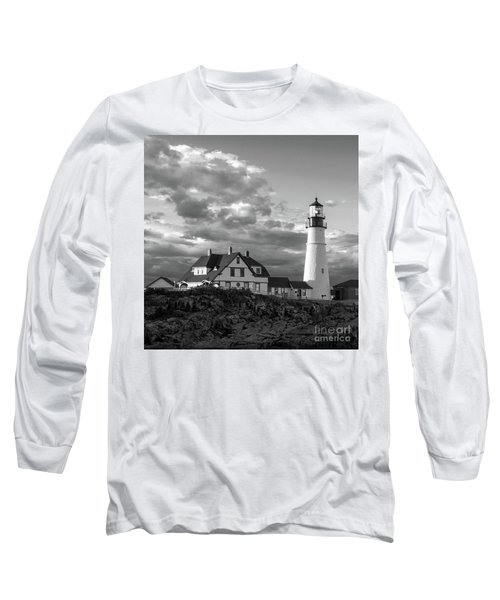 Late Afternoon Clouds, Portland Head Light  -98461-sq Long Sleeve T-Shirt