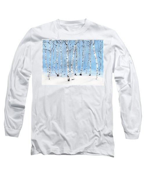 Late Afternoon Snowstorm In The Forest Long Sleeve T-Shirt