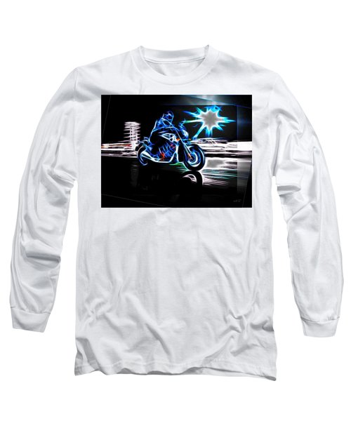 Long Sleeve T-Shirt featuring the digital art Late Night Street Racing by Maciek Froncisz
