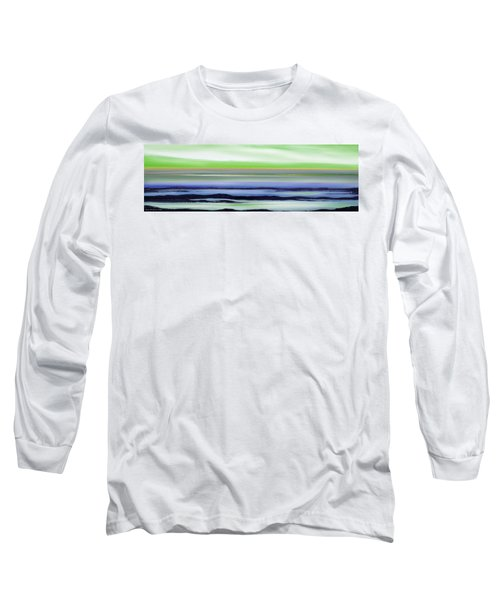Lava Rock Panoramic Sunset In Green And Blue Long Sleeve T-Shirt