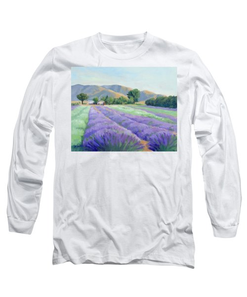 Long Sleeve T-Shirt featuring the painting Lavender Lines by Sandy Fisher