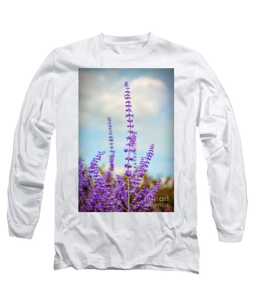 Long Sleeve T-Shirt featuring the photograph Lavender To The Sky by Kerri Farley