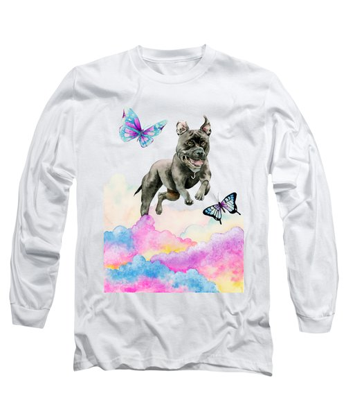 Leap - Pit Bull Dog, Rainbow Clouds, And Butterflies Long Sleeve T-Shirt
