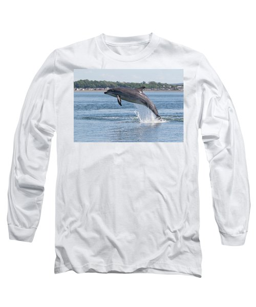 Long Sleeve T-Shirt featuring the photograph Leaping Dolphin - Moray Firth, Scotland by Karen Van Der Zijden