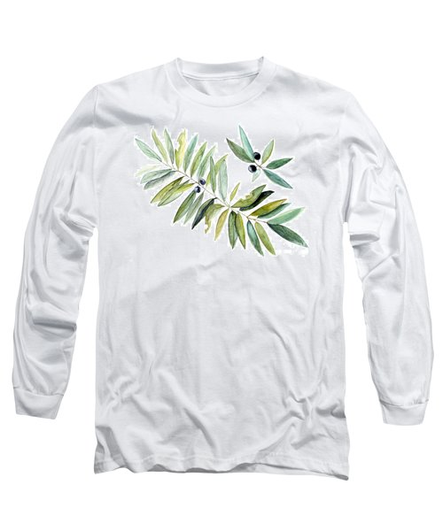 Leaves And Berries Long Sleeve T-Shirt by Laurie Rohner