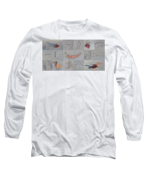 Long Sleeve T-Shirt featuring the photograph Leaves And Cracks Collage by Ben and Raisa Gertsberg