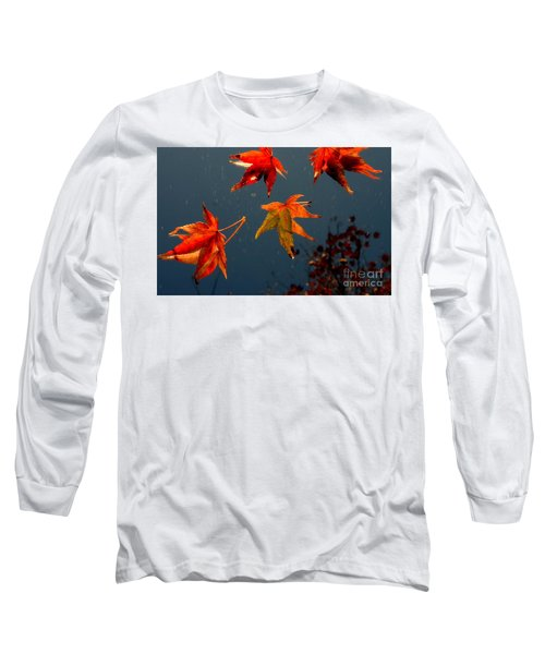 Leaves Falling Down Long Sleeve T-Shirt by Marie Neder