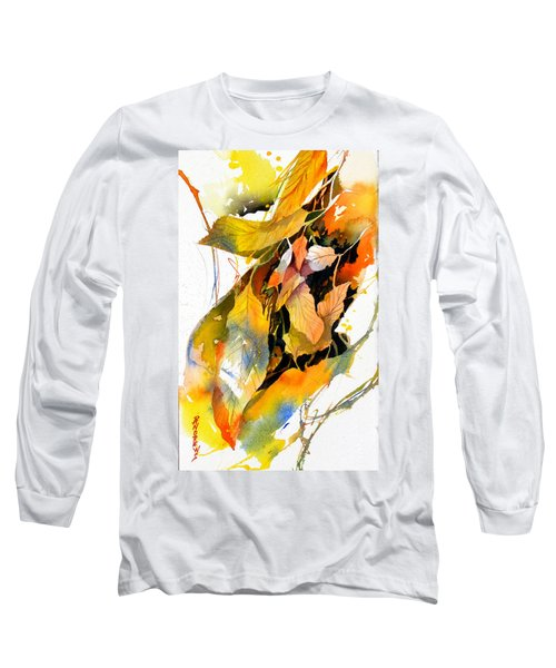 Long Sleeve T-Shirt featuring the painting Leaves by Rae Andrews