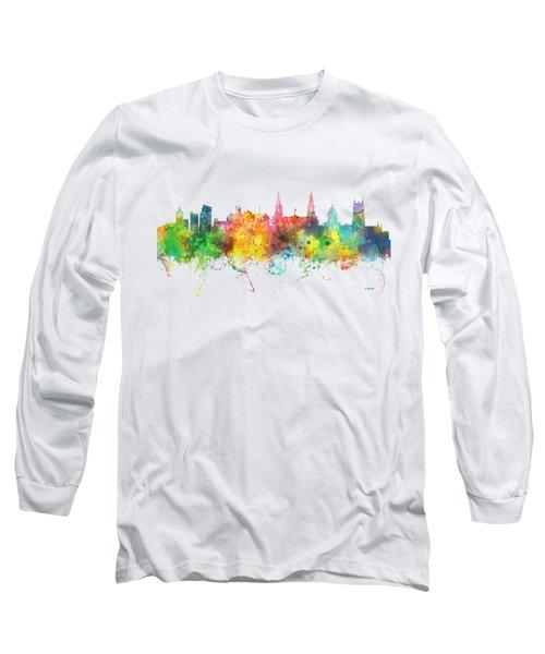 Leeds England Skyline Long Sleeve T-Shirt by Marlene Watson