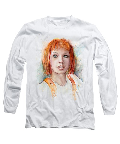 Leeloo Portrait Multipass The Fifth Element Long Sleeve T-Shirt by Olga Shvartsur