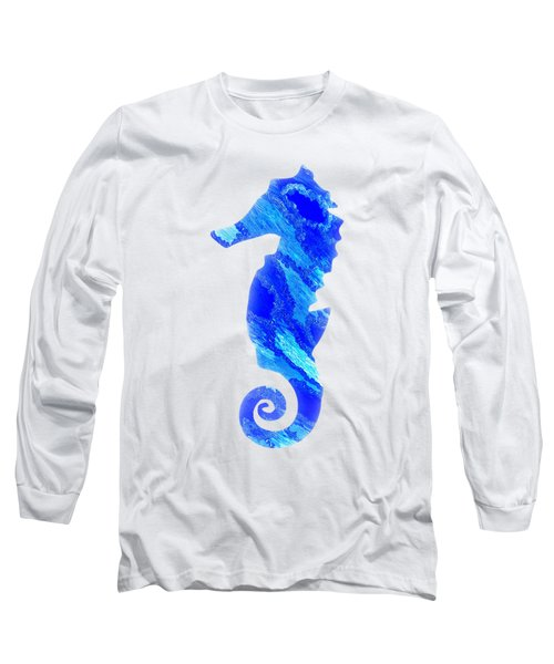Long Sleeve T-Shirt featuring the mixed media Left Facing Seahorse Bt by Rachel Hannah
