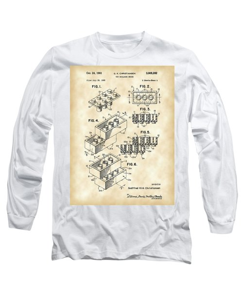 Lego Patent 1958 - Vintage Long Sleeve T-Shirt by Stephen Younts