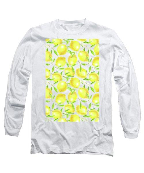 Lemons And Leaves  Pattern Design Long Sleeve T-Shirt