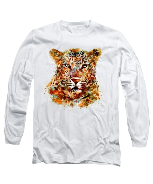 Leopard Head Watercolor Long Sleeve T-Shirt by Marian Voicu