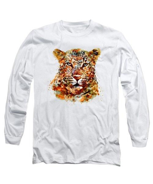 Leopard Head Watercolor Long Sleeve T-Shirt