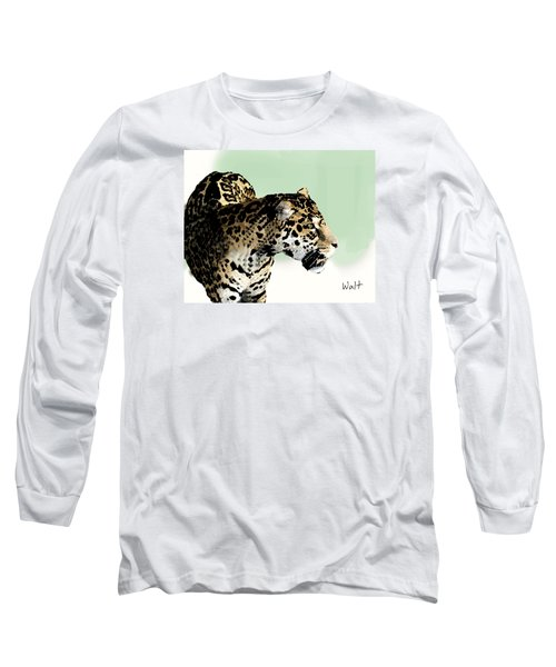 Long Sleeve T-Shirt featuring the digital art Leopard by Walter Chamberlain