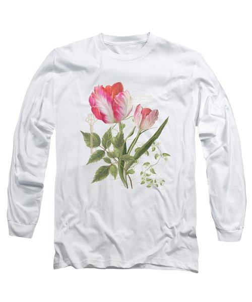 Les Magnifiques Fleurs I - Magnificent Garden Flowers Parrot Tulips N Indigo Bunting Songbird Long Sleeve T-Shirt