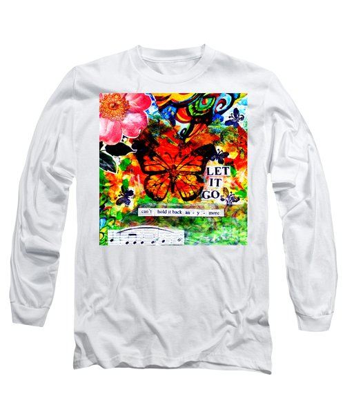 Long Sleeve T-Shirt featuring the mixed media Let It Go by Genevieve Esson