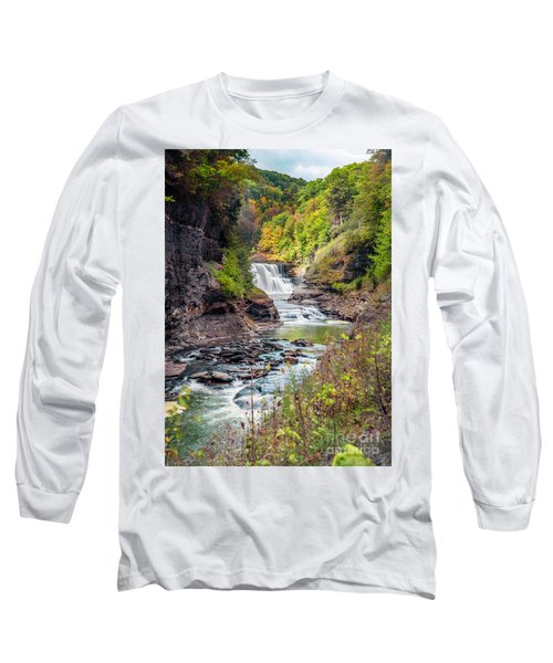 Letchworth Lower Falls In Autumn Long Sleeve T-Shirt