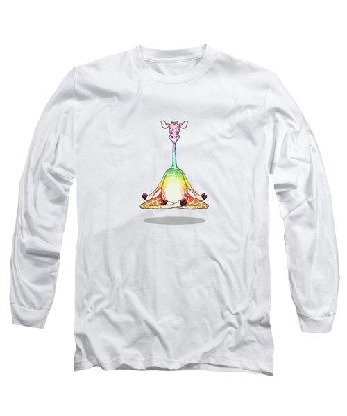 Levitating Meditating Rainbow Giraffe Long Sleeve T-Shirt