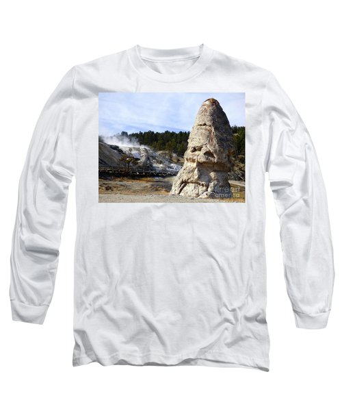 Liberty Cap At Mammoth Hot Springs Long Sleeve T-Shirt