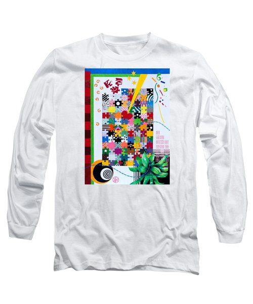 Long Sleeve T-Shirt featuring the painting Life Is A Puzzle by Thomas Gronowski