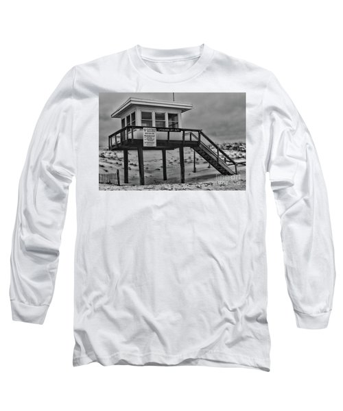 Lifeguard Station 1 In Black And White Long Sleeve T-Shirt by Paul Ward