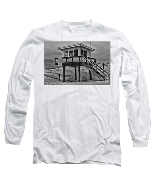 Lifeguard Station 2 In Black And White Long Sleeve T-Shirt by Paul Ward