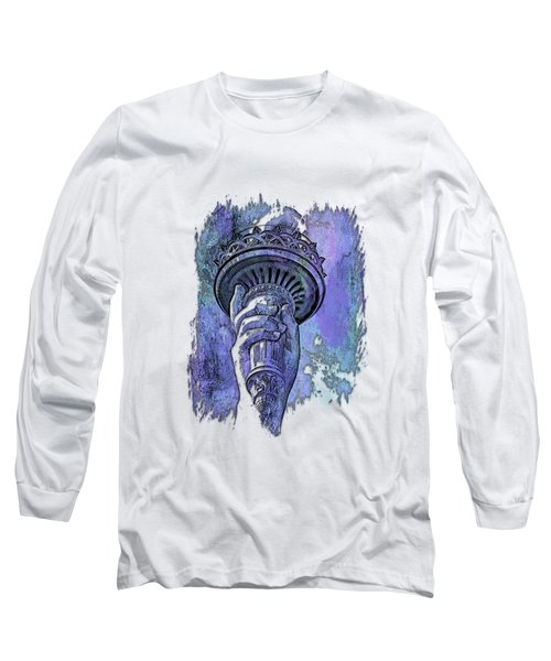 Light The Path Berry Blues 3 Dimensional Long Sleeve T-Shirt by Di Designs