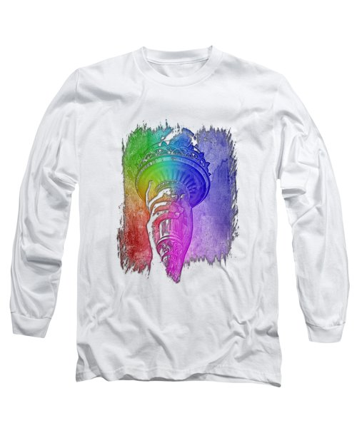 Light The Path Cool Rainbow 3 Dimensional Long Sleeve T-Shirt by Di Designs