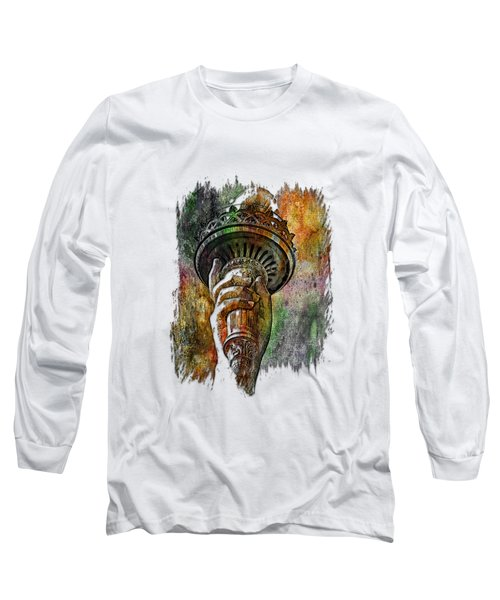 Light The Path Muted Rainbow 3 Dimensional Long Sleeve T-Shirt by Di Designs